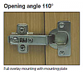 HINGE FOR KITCHEN CABINET DOORS - OPENING ANGLE 110°