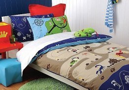 boys bedroom, treasure unter, bed, quilt, cover,