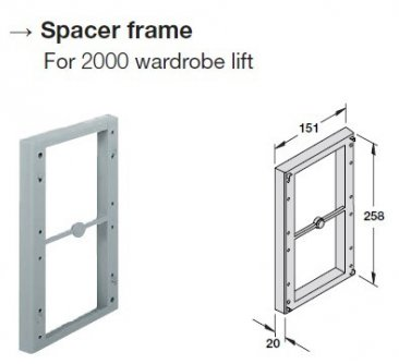 SPACER FRAME FOR WARDROBE LIFT 2000 ,WARDROBE LIFT 2000, WARDROBE ACCESSORIES, LIFT CLOTHES, CLOTHES HANGER, WARDROBE AND INTERIOR FITTINGS